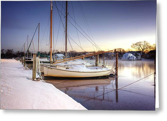 Babylon Greeting Cards - Snow Boats Greeting Card by Vicki Jauron