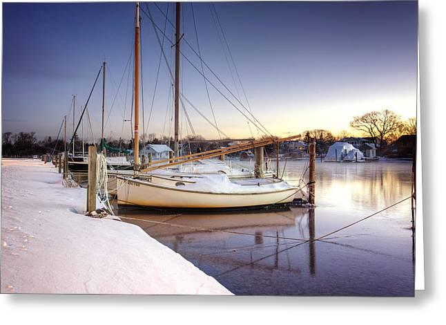 Babylon Village Greeting Cards - Snow Boats Greeting Card by Vicki Jauron