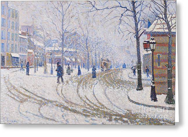 Fallen Snow Greeting Cards - Snow  Boulevard de Clichy  Paris Greeting Card by Paul Signac