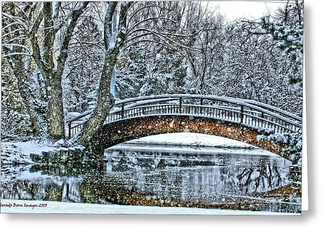 Snow Bridge Greeting Card by Rebecca Adams