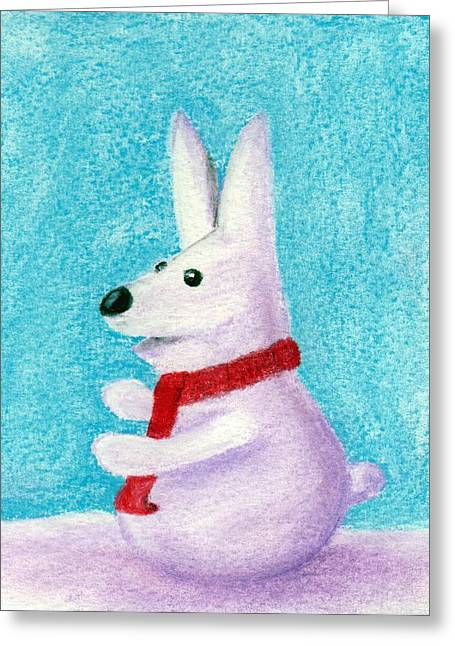 Scarf Pastels Greeting Cards - Snow Bunny Greeting Card by Anastasiya Malakhova