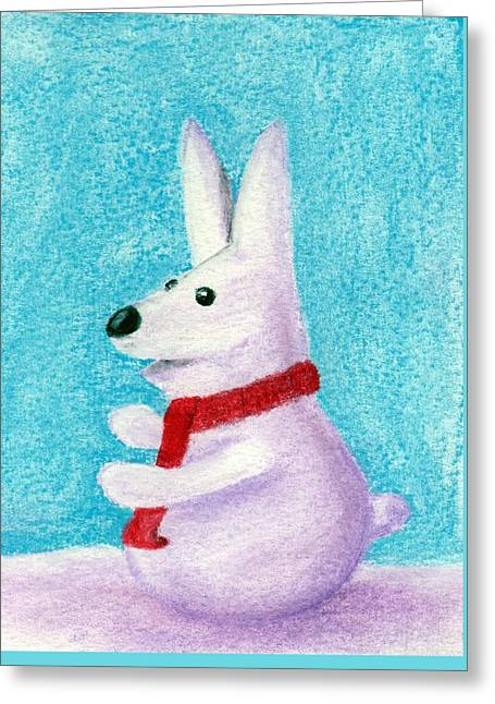 Scarf Pastels Greeting Cards - Snow Bunny Greeting Card by Anastasiya Malakhova