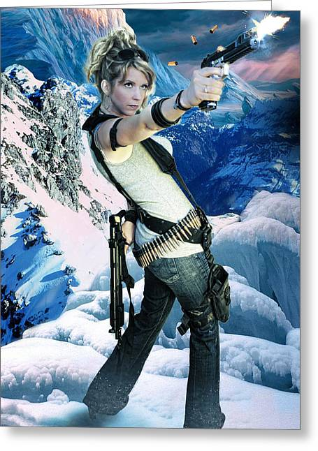 Action Heroine Photographs Greeting Cards - Snow Bunny Hero Greeting Card by Jason Brooks