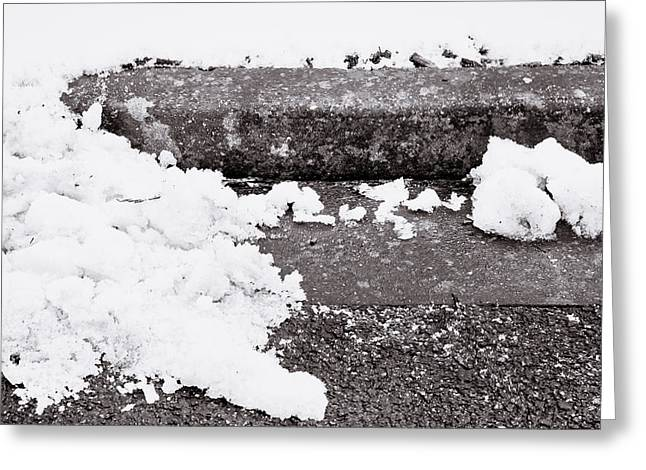 Kerb Greeting Cards - Snow by the kerb Greeting Card by Tom Gowanlock