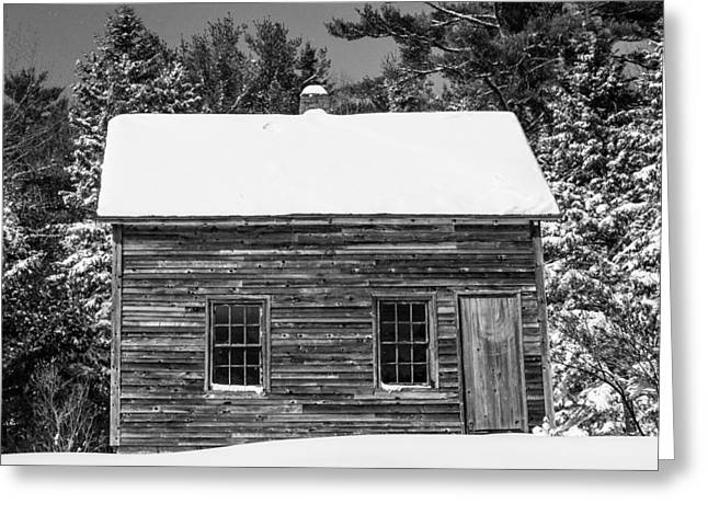 Somesville Maine Greeting Cards - Snow Cabin Greeting Card by Nancy Greindl