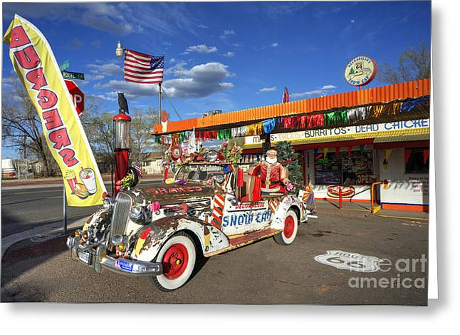 Deuce Coupe Greeting Cards - Snow Cap Diner  Greeting Card by Rob Hawkins