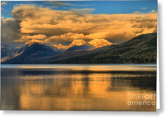 Lake Mcdonald Greeting Cards - Snow Cap Reflections Greeting Card by Adam Jewell