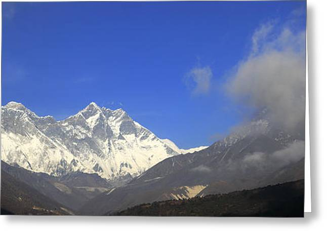 Mt Everest Base Camp Greeting Cards - Snow Capped Ama Dablam Mountain on the Everest base camp trek Greeting Card by Dave Porter