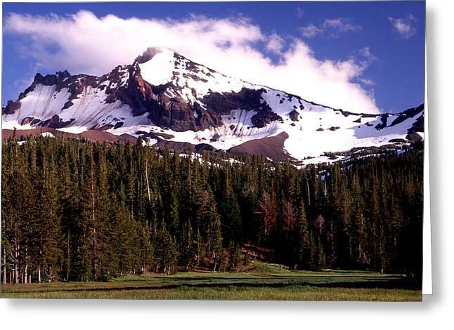 Joe Klune Greeting Cards - Snow capped Broken top mountain Greeting Card by Joe Klune