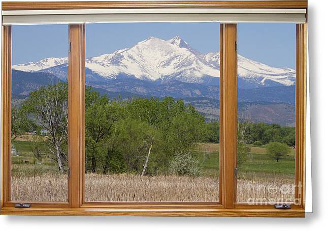 Colorado Mountain Prints Greeting Cards - Snow Capped Longs Peak Picture Window View Greeting Card by James BO  Insogna