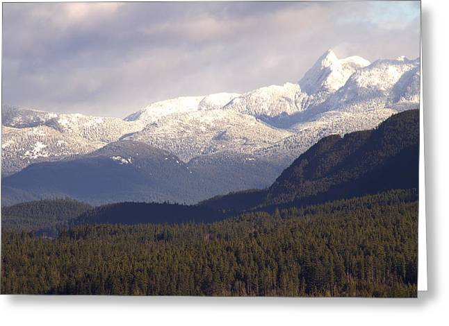 Snow Capped Greeting Cards - Snow Capped Mountains Greeting Card by Peggy Collins