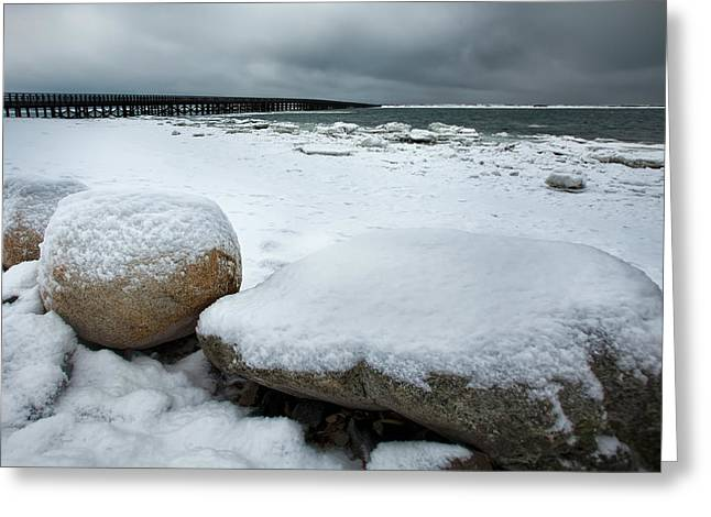 Duxbury Greeting Cards - Snow Caps Greeting Card by Edmund Prescottano