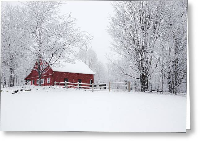 Red Barn In Winter Greeting Cards - Snow Country Greeting Card by Robert Clifford