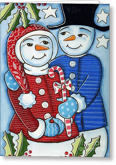 Blue And Green Mixed Media Greeting Cards - Snow Couple Greeting Card by Elaine Jackson