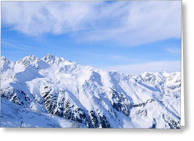 Snow Scene Landscape Greeting Cards - Snow Covered Alps, Schonjoch, Tirol Greeting Card by Panoramic Images