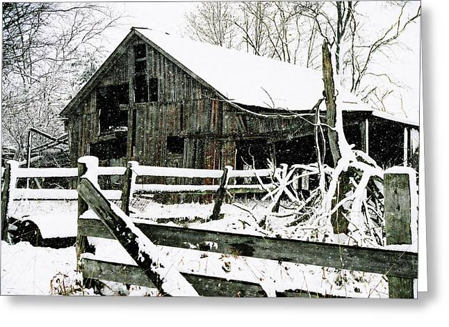 Snow-covered Landscape Digital Art Greeting Cards - Snow Covered Barn Greeting Card by Kimberleigh Ladd