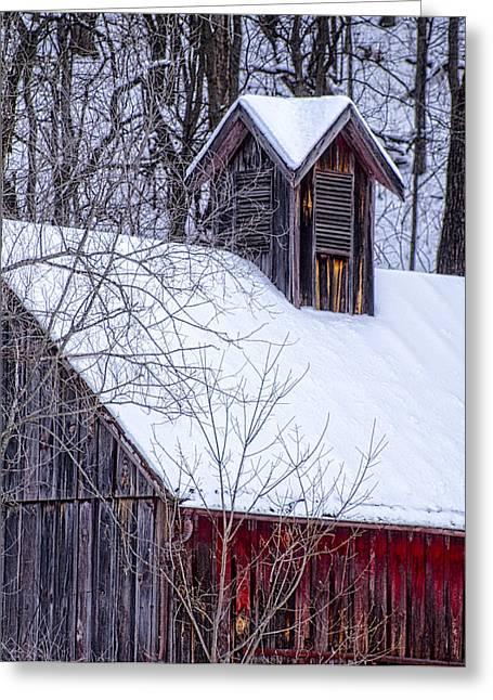 Hartsburg Greeting Cards - Snow Covered Barn Greeting Card by Wayne Meyer
