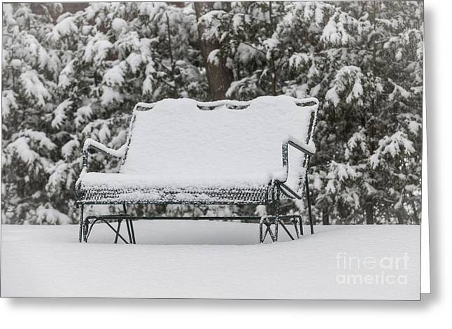 Bench Greeting Cards - Snow covered bench Greeting Card by Elena Elisseeva