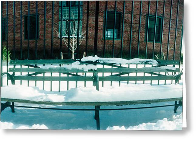 Lower East Side Greeting Cards - Snow Covered Bench In A Park, East Greeting Card by Panoramic Images