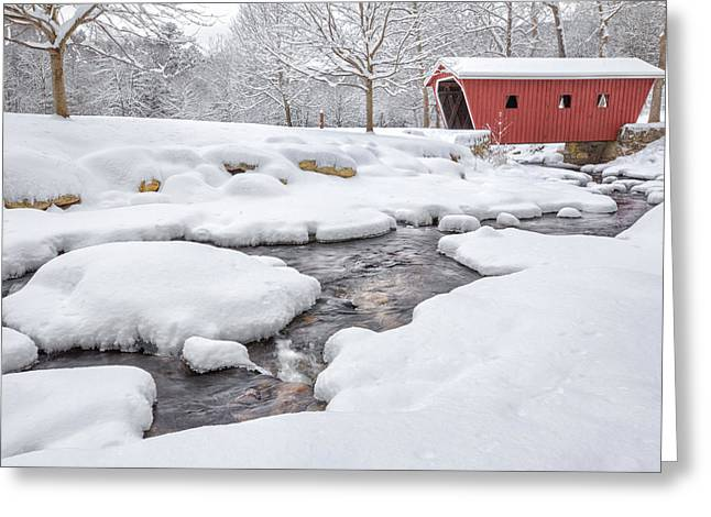 Connecticut Covered Bridge Greeting Cards - The Stillness of Winter Greeting Card by Bill  Wakeley