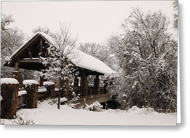 Snow Scene Landscape Greeting Cards - Snow Covered Bridge Greeting Card by Robert Frederick