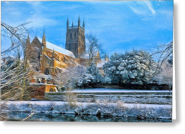 Storm Prints Digital Art Greeting Cards - Snow Covered Cathedral 3 Greeting Card by Roy Pedersen