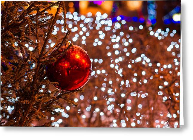 Family Time Greeting Cards - Snow covered Christmas tree and red ball - Featured 3 Greeting Card by Alexander Senin