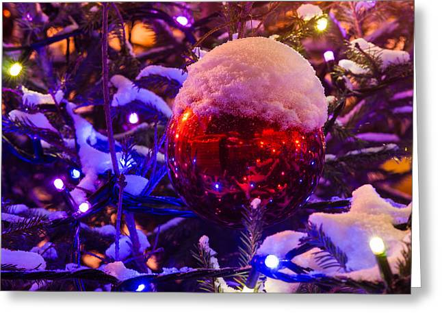 Snow Tree Prints Greeting Cards - Snow covered Christmas tree and red ball with a cup of snow - Featured 3 Greeting Card by Alexander Senin