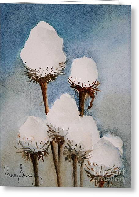 Covered Head Paintings Greeting Cards - Snow Covered Coneflowers Greeting Card by Penny Stroening