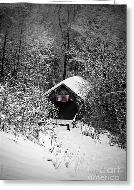 Tilt Greeting Cards - Snow covered Covered Bridge  Greeting Card by Edward Fielding