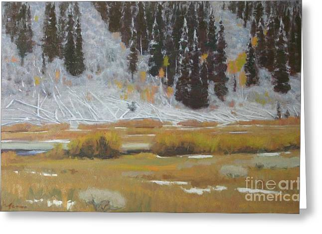 Snow Scene Landscape Pastels Greeting Cards - Snow covered deadfall Murphys creek Wyoming Greeting Card by Doyle Shaw