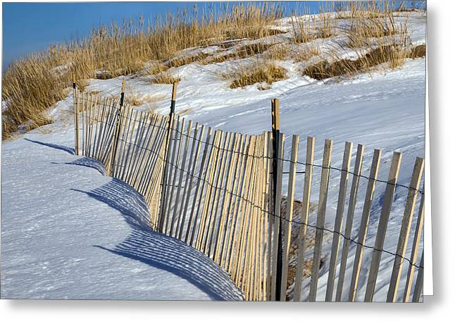 Framed Winter Snow Print Greeting Cards - Snow Covered Dunes Greeting Card by Twenty Two North Photography