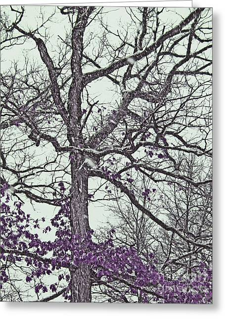 Snowstorm Prints Greeting Cards - Snow Covered Fantasy Tree with Purple Leaves Greeting Card by Adri Turner