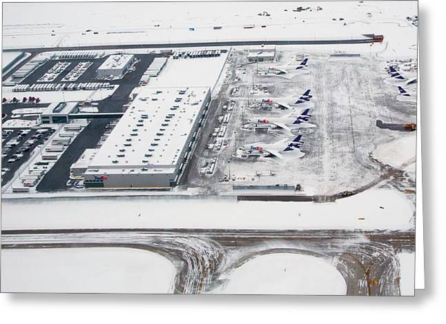 Snow-covered Fedex Terminal Greeting Card by Jim West