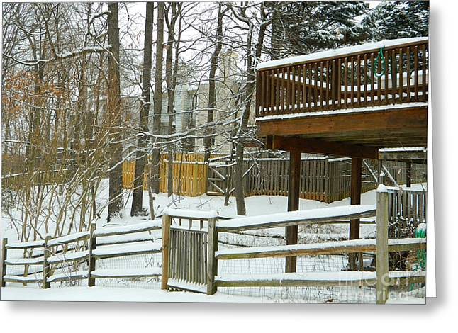 Snow-covered Landscape Digital Art Greeting Cards - Snow Covered Fences Greeting Card by Emmy Marie Vickers