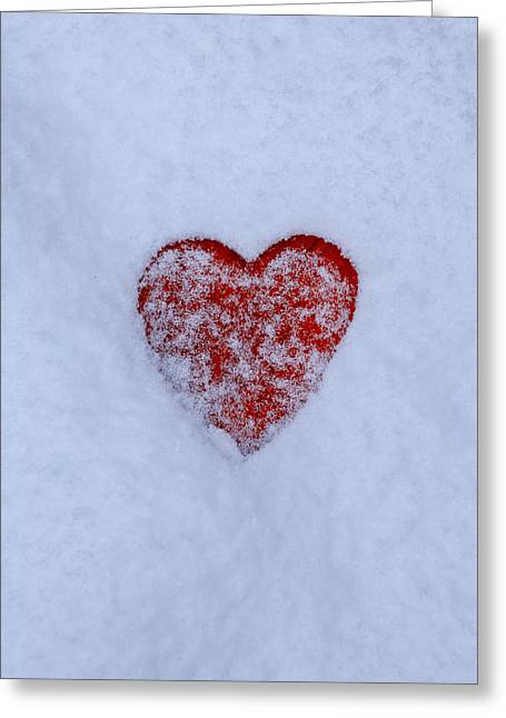 Caress Greeting Cards - Snow-covered Heart Greeting Card by Joana Kruse
