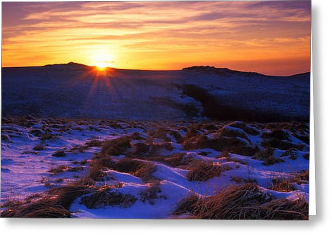 Snow Scene Landscape Greeting Cards - Snow Covered Landscape At Dusk Greeting Card by Panoramic Images
