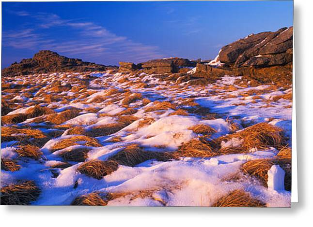 Snow Scene Landscape Greeting Cards - Snow Covered Landscape, Dartmoor Greeting Card by Panoramic Images