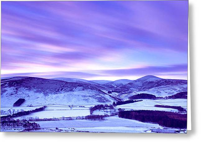 Snow Scene Landscape Greeting Cards - Snow Covered Landscape, Drumelzier Greeting Card by Panoramic Images