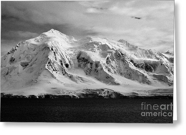 Snow-covered Landscape Greeting Cards - snow covered landscape of anvers island mountain range and neumayer channel Antarctica Greeting Card by Joe Fox