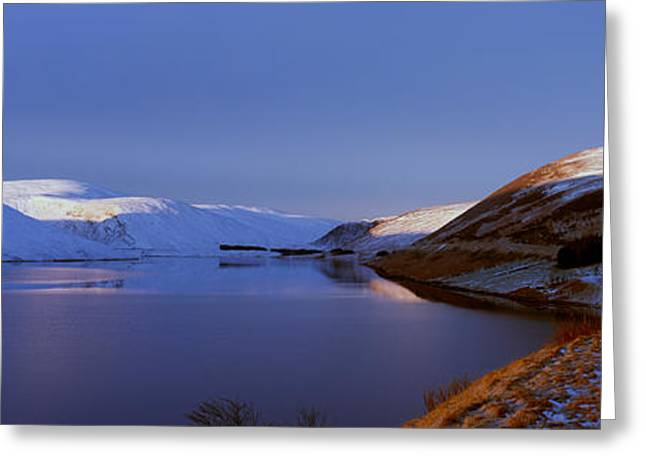 Snow Scene Landscape Greeting Cards - Snow Covered Landscape Reservoir Greeting Card by Panoramic Images