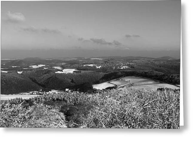 Outlook Greeting Cards - Snow-covered landscape seen from above - monochrome Greeting Card by Intensivelight