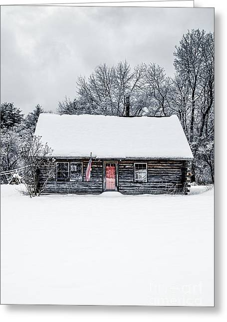 Red Doors Greeting Cards - Snow Covered Log Cabin Greeting Card by Edward Fielding