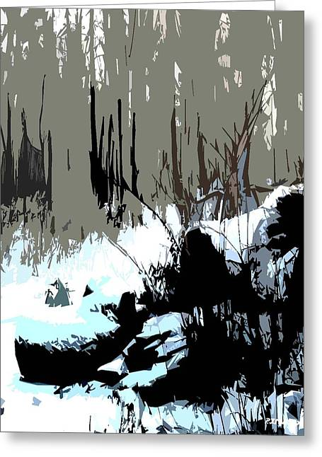 Snow Tree Prints Mixed Media Greeting Cards - Snow Covered Logs Greeting Card by Patrick J Murphy