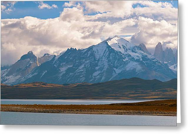 Paine Greeting Cards - Snow Covered Mountain Range, Torres Del Greeting Card by Panoramic Images