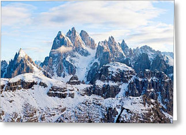 Alto Greeting Cards - Snow Covered Mountains, Dolomites Greeting Card by Panoramic Images