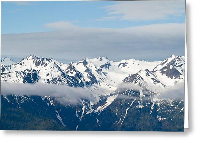 Olympic Peninsula Greeting Cards - Snow Covered Mountains, Hurricane Greeting Card by Panoramic Images