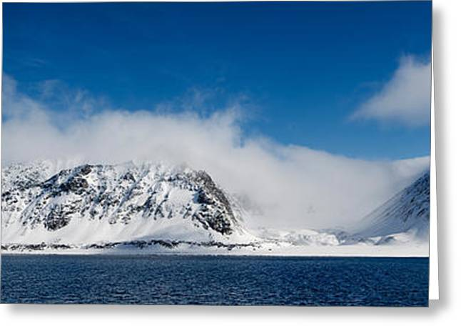 Svalbard Greeting Cards - Snow Covered Mountains, Magdalene Greeting Card by Panoramic Images