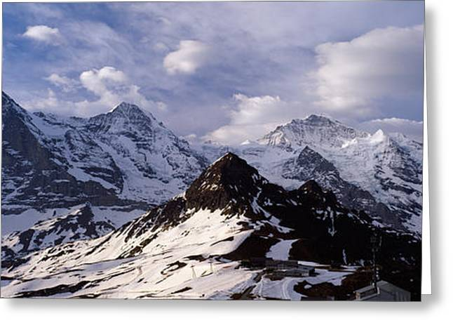 Snow Covered Mountains, Mt Eiger, Mt Greeting Card by Panoramic Images