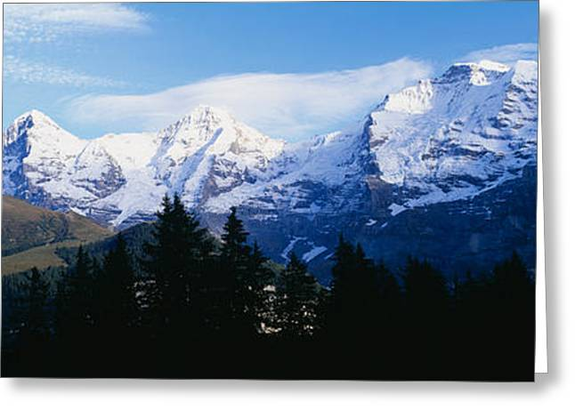 Mountain Greeting Cards - Snow Covered Mountains On A Landscape Greeting Card by Panoramic Images